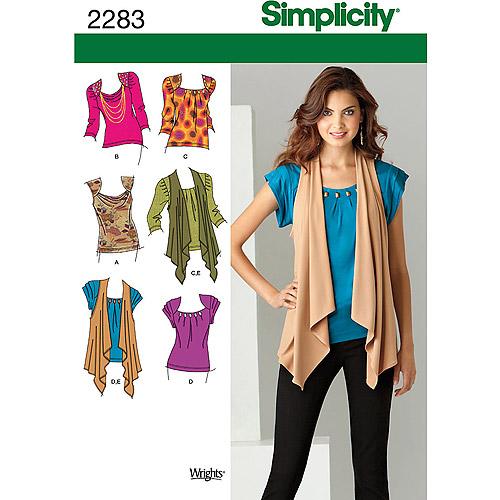 Simplicity Pattern Misses' Tops, Vests, (6, 8, 10, 12, 14)