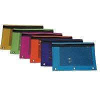 BAZIC True Bright Color 3-Ring Pencil Pouch w/ Mesh Window, 6 pcs