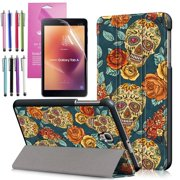 EpicGadget Galaxy Tab A 8.0 (2017) Case, Tri-fold Stand Lightweight Slim Cover PU Leather Case For Samsung Galaxy Tab A 8 (T380/T385) released in 2017 (Floral Skull)