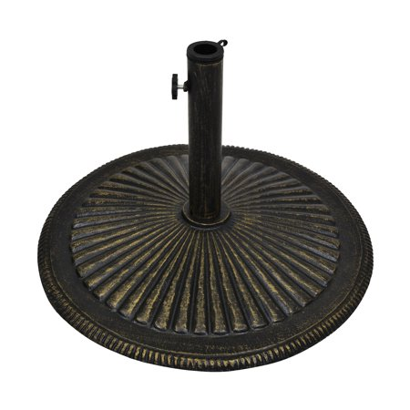 Best Choice Products 50lb Round Heavy-Duty Cast Iron Rustic Patio Umbrella Base Stand w/ Removable Stem, Tightening Knob - Bronze