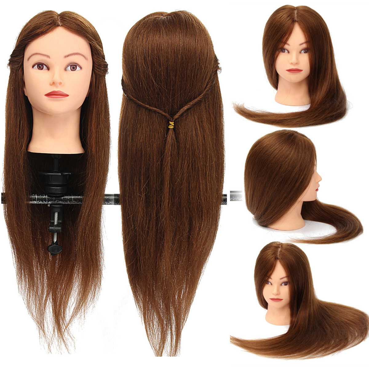 "26"" 100% Human Hair Hairdressing Training Mannequin Cosmetology Practice Head  +Clamp"