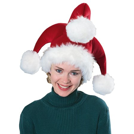 3d1b2b7ebbbbb Santa Jester Hat with Pompoms Adult Costume Accessory - Walmart.com