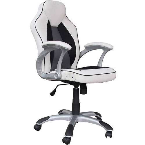 X Video Rocker Executive Office Chair with 2.0 Bluetooth Sound, Black/White, 0287401