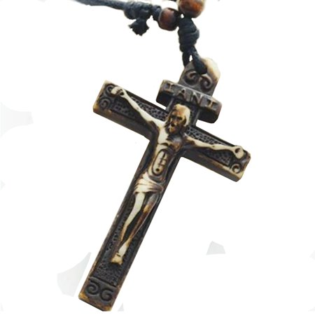 - Crucifix Cross Resin Carved Jesus on the Cross Religious  Cross Necklace Jewelry J-99-A