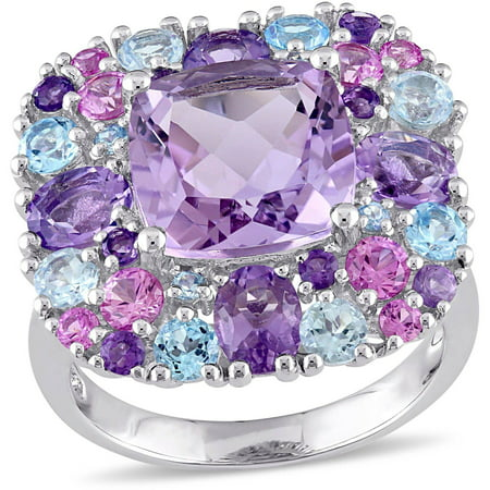 Tangelo 7.06 Carat T.G.W. Multi-Gemstone and Diamond-Accent Sterling Silver Mosaic Cocktail Ring