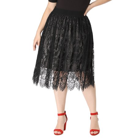 Women's Plus Size High Waist Fall Flared A-line Lace Midi Skirt ()