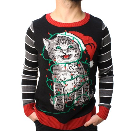 ugly christmas sweater teen boys cat lights led light up sweatshirt