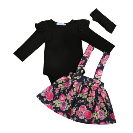 Toddler Kids Baby Girls Romper Tops+Flower Suspender Tutu Skirt+Headband 3Pcs Outfit - Flower Child Outfits