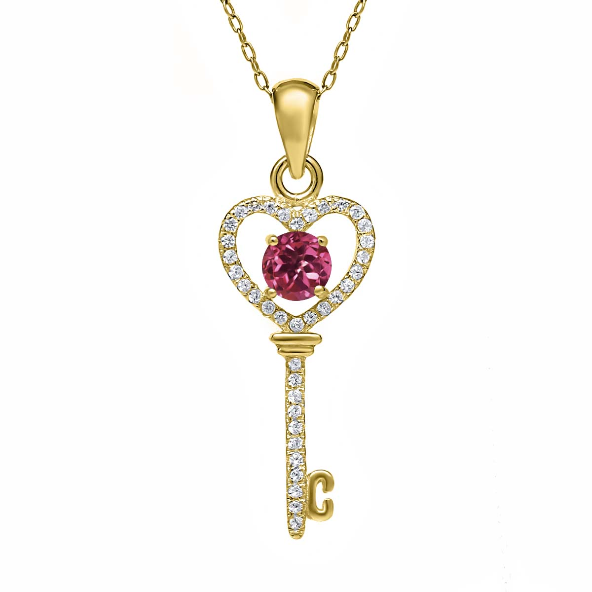 0.94 Ct Pink Tourmaline AAA 18K Yellow Gold Plated Silver Key Pendant by