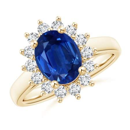 Princess Diana Wedding Ring.September Birthstone Ring Princess Diana Inspired Blue Sapphire Ring With Diamond Halo In 14k Yellow Gold 9x7mm Blue Sapphire