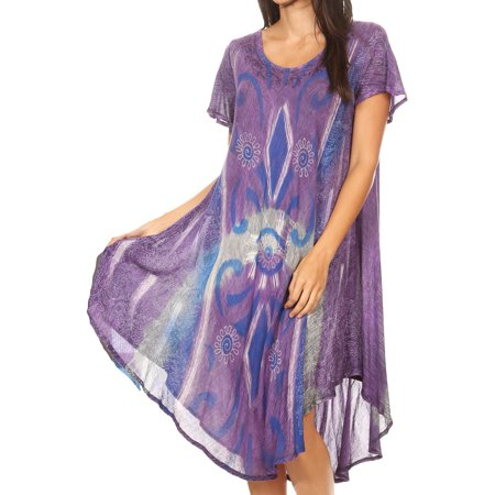 Sakkas Dalila Women's Midi A-line Short Sleeve Boho Swing Dress Cover-up Nightgown - 19109-Purple - One Size