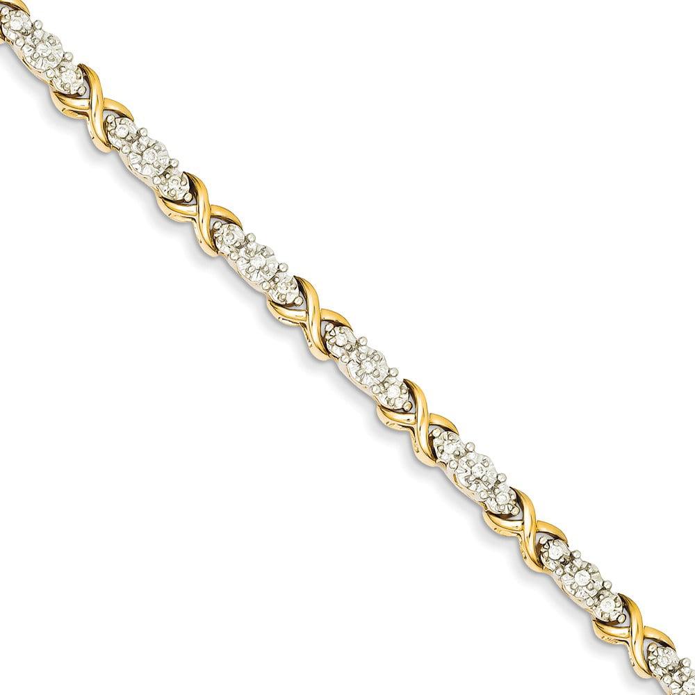 14k Yellow Gold Diamond X Bracelet. Carat Wt- 0.49ct