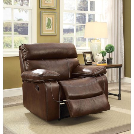 - Leatherette Recliner With Large Padded Arms In Brown