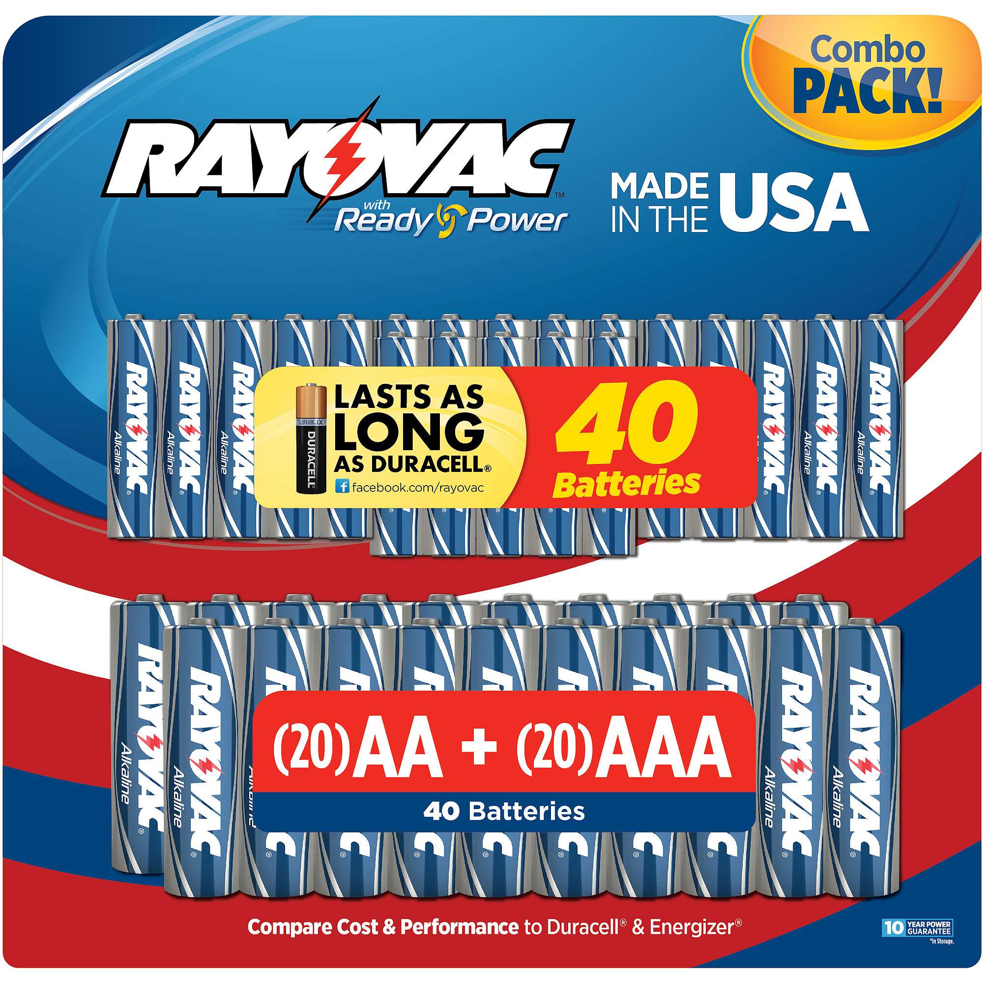Rayovac AA-20/AAA-20 Combo Value, 40-Pack