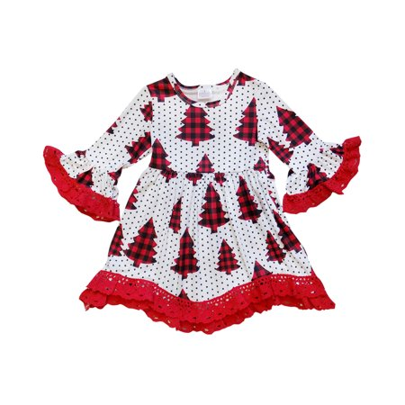 Lace Ruffle Dress Toddler (So Sydney Toddler Girls Boho Ruffle Crochet Lace Trim Flare Sleeve)