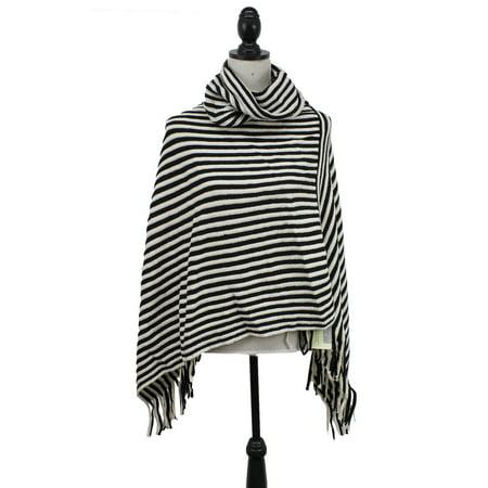 StylesILove Women Striped Turtleneck Cape Poncho Fringed Trim Knitted Shawl (Black)