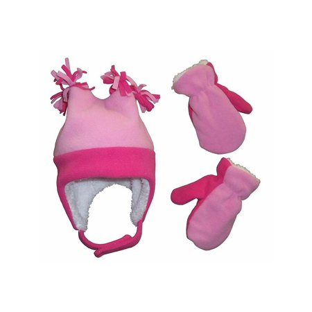 NICE CAPS Little Girls Toddler and Infants 4 Corner Warm Sherpa Lined Micro Fleece Hat and Mitten Winter Cold Weather Headwear Accessory Set - Fits Baby Children and Kids