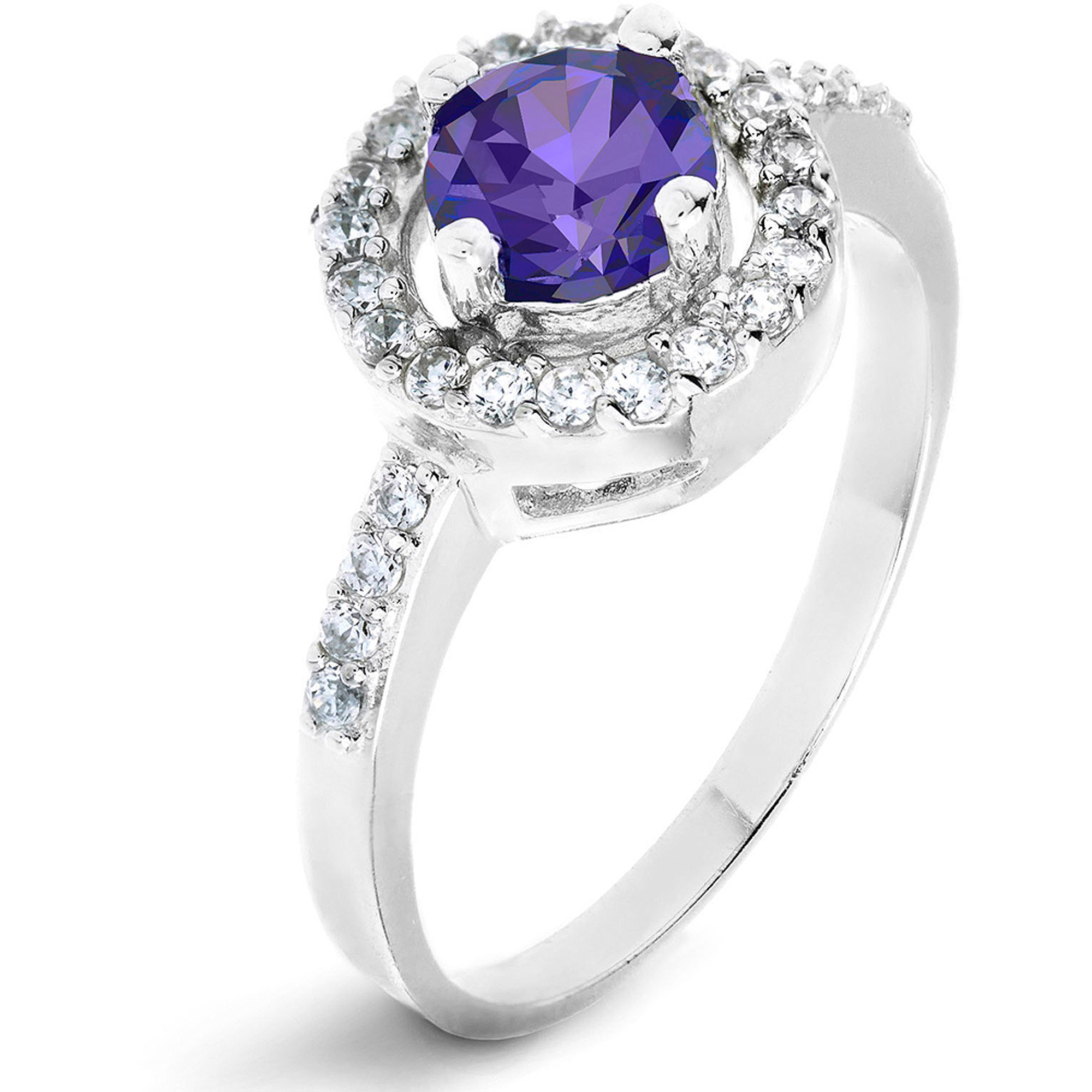 ELYA Sterling Silver Round Amethyst Purple Cubic Zirconia Halo Ring by West Coast Jewelry
