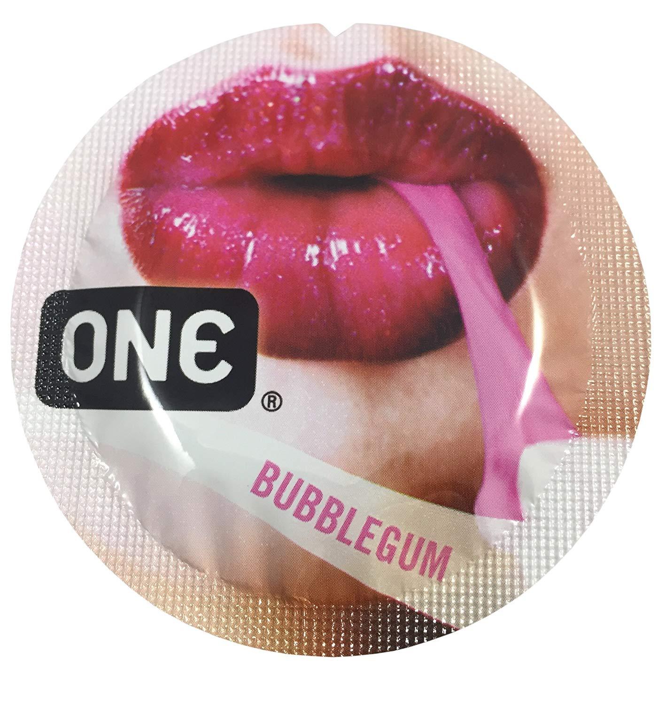 ONE Bubblegum + Silver Pocket Case, Premium Flavored Lubricated Latex Condoms-24 Count