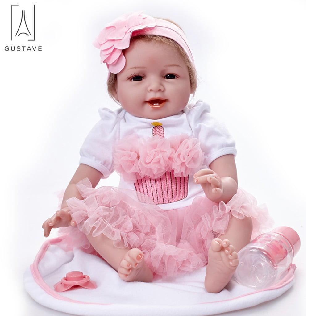 "Full Reborn Baby Doll Girl Vinyl Silicone Drawing Hair 18/"" Lovely Sweet Beauty"