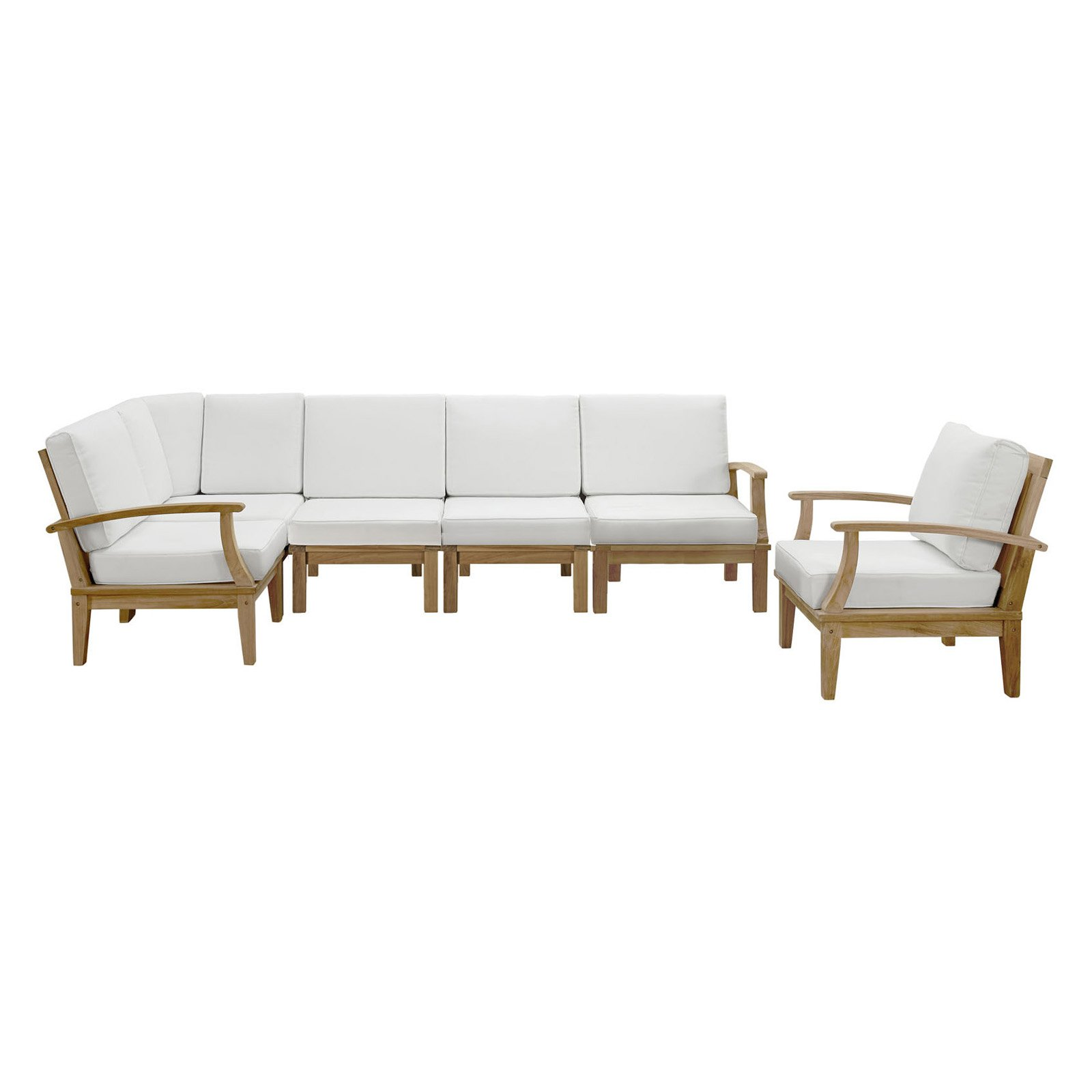 Modway Marina 6 Piece Outdoor Patio Teak Sofa Set in Natural White by Modway