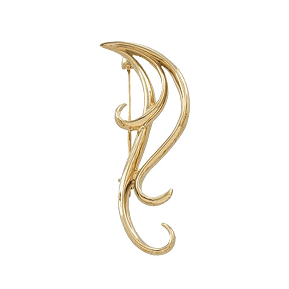 14K Yellow Gold Triple Scroll Pin Brooch by