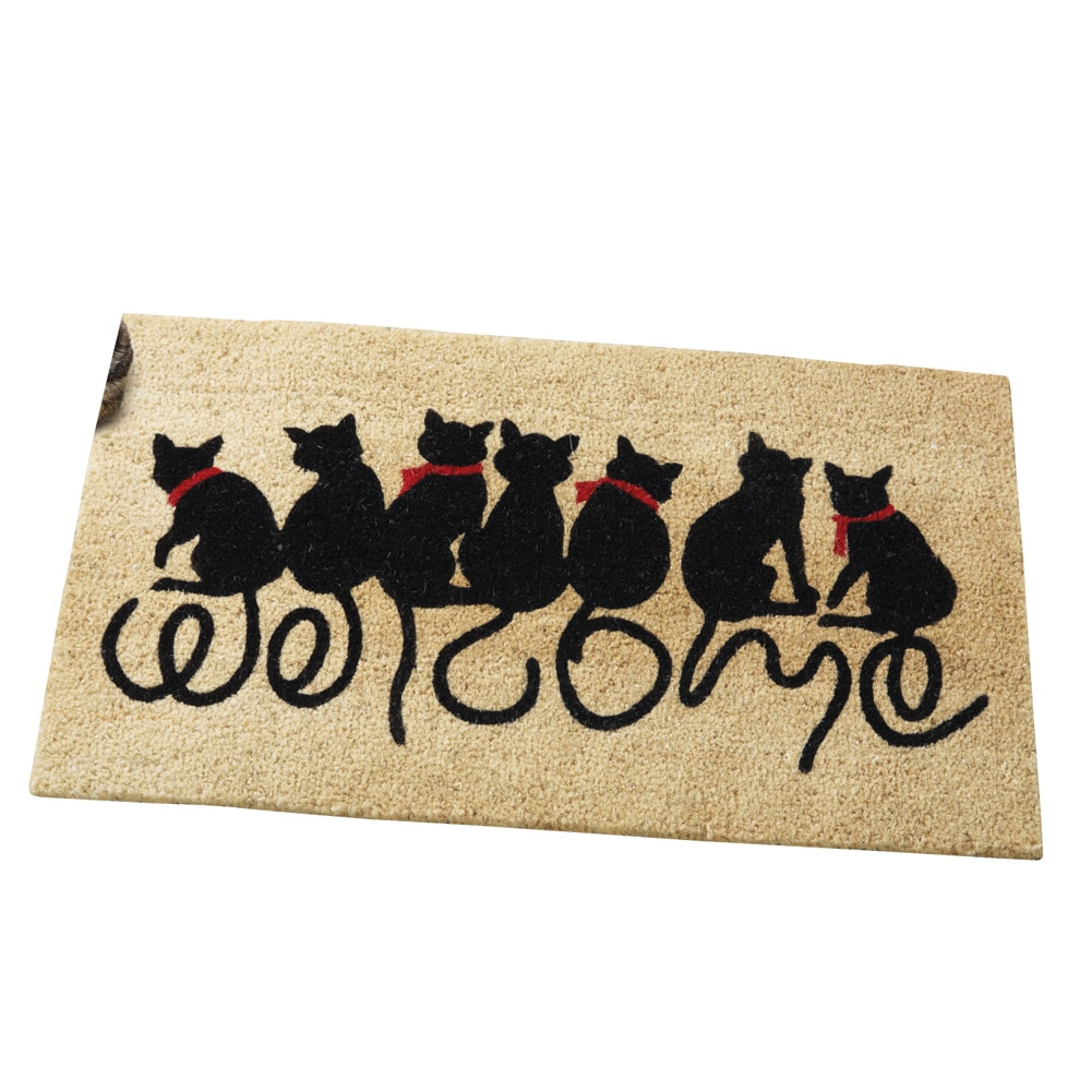 Welcome Kitties Cat Lovers Entrance Outdoor Coco Front Door Mat, Brown