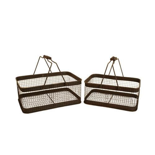 WaldImports 2 Piece Weathered Metal Wire Basket Set (Set of 2)