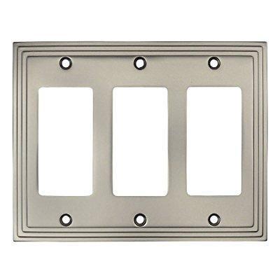 Cosmas 25084-SN Satin Nickel Triple GFI / Decora Rocker Wall Switch Plate Switchplate Cover ()
