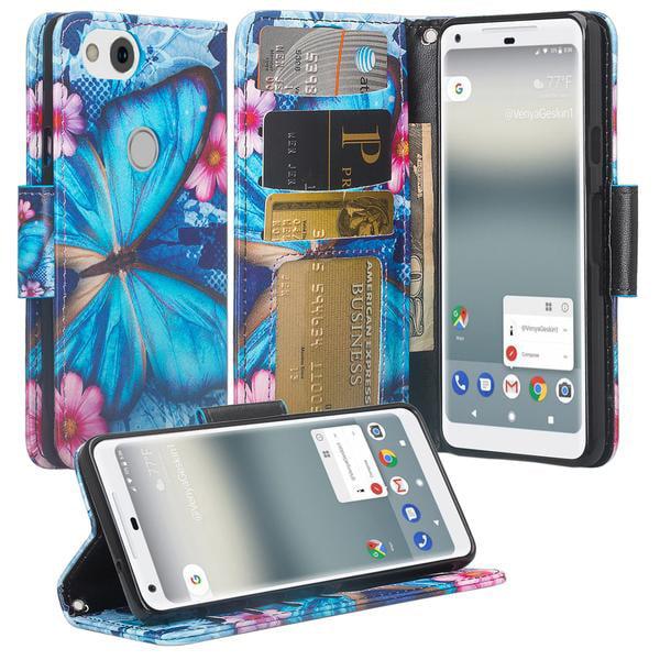 Google Pixel 2 XL Case, Pixel 2 XL Case, Slim Flip Folio [Kickstand] Pu Leather Wallet Case with ID & Card Slots & Pocket + Wrist Strap - Blue Butterfly