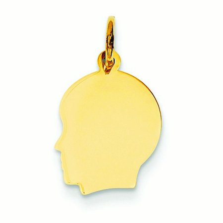 14K Yellow Gold Solid Polished Engravable Plain Sml   018 Gauge Facing Left Boy Head Charm