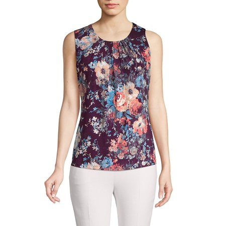 Petite Floral Pleated Top