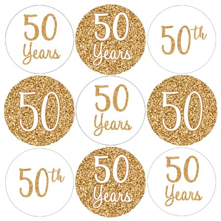 50th Anniversary Candy Stickers 180 Count - Gold 50th Anniversary Party Supplies Golden 50th Wedding Anniversary Decorations Party Favors 50th Anniversary Candy Wrappers