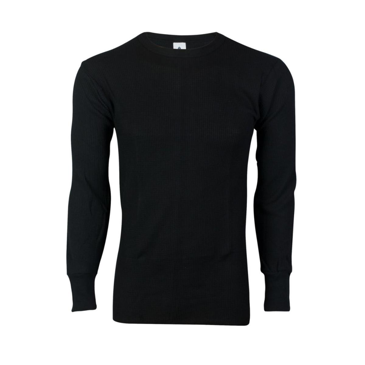 Indera Heavyweight Cotton Knit Thermal Long Underwear Shirt, Black by Indera Mills