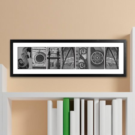 Personalized Architectural Elements Alphabet - Black and White Family Name -