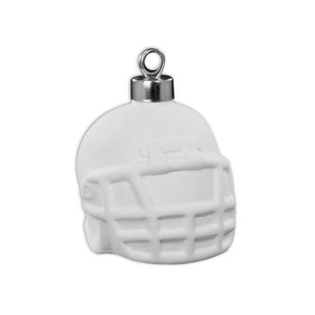 "Ceramic bisque unpainted unfinished 4351 Football Helmet Ornament 2¾"" L x 2¼"" W x 2"" H ½"" H Ornament topper"