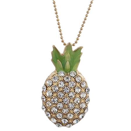 Lux Accessories Gold Tone Pave Stone Pineapple Tropical Fruit Pendant Necklace ()