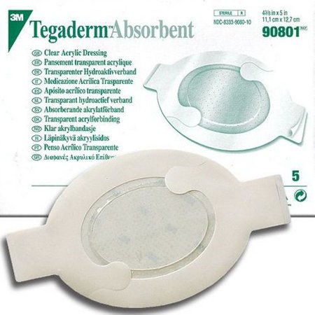 Absorbent Dressing Pad (3M Tegaderm Clear Absorbent Acrylic Dressing Medium ''4.4 X 5 with 2.4 X 3 pad, Oval, Box of)