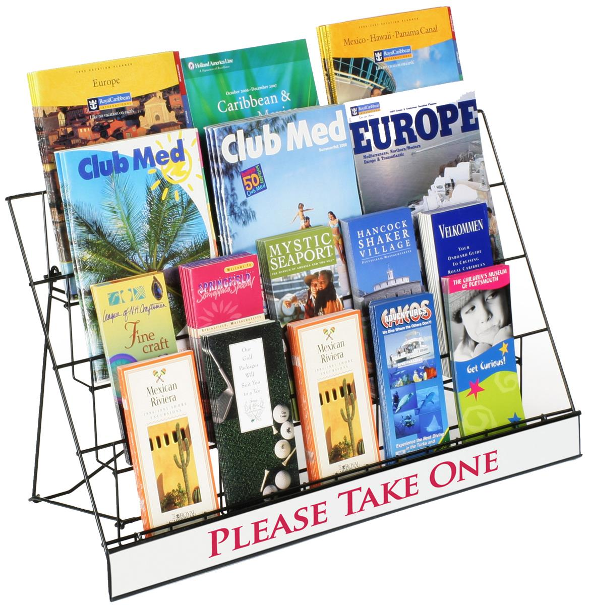 Countertop Display Rack for Literature, 4 Open Tiers Work with Magazines and Brochures, Each Level Holds up to... by Displays2go