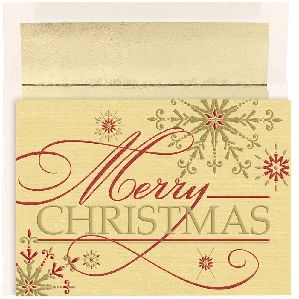 JAM Paper Christmas Card Set, Merry Christmas Flakes Holiday Cards, 16/pack