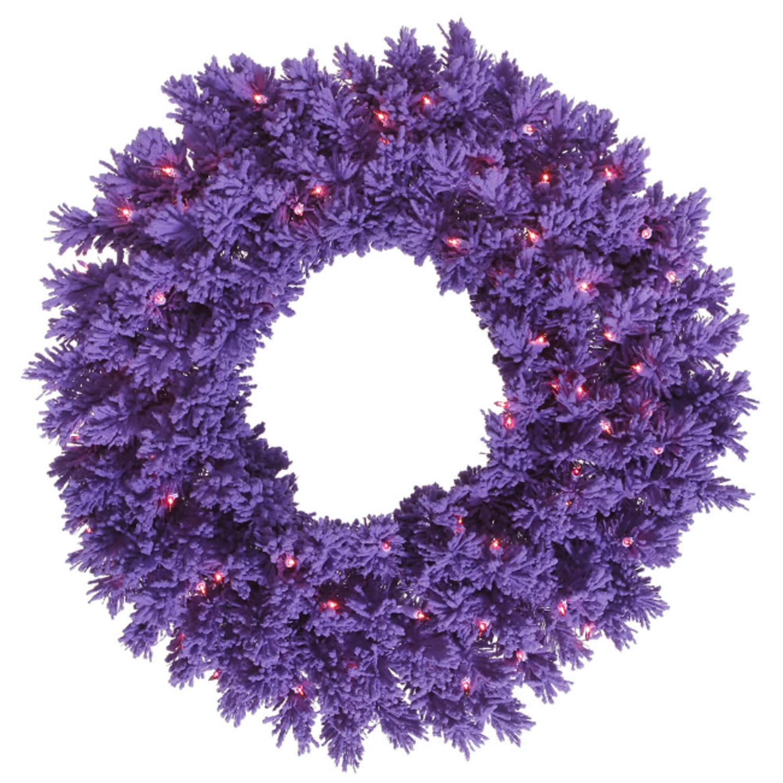 "36"" Pre-Lit Flocked Purple Pine Artificial Christmas Wreath - Purple Lights"