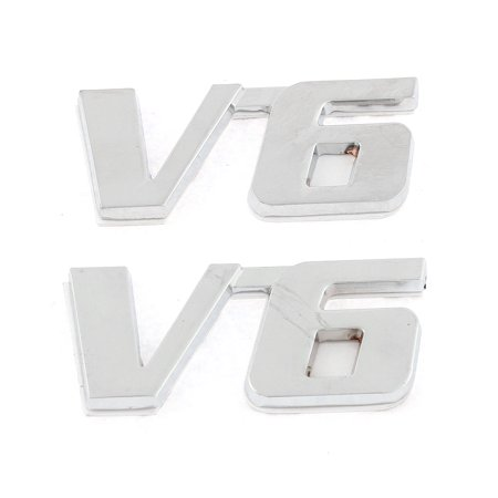 Polish Chrome V6 Fender Bumper Sticker Metal Emblem Decal Symbol Trim Badge (Fender Decal)