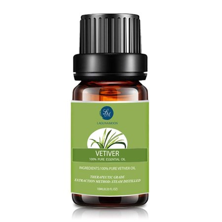 Lagunamoon 10ml Vetiver Essential Oils,Pure&Natural Aromatherapy Oil For Massage And Relaxation,Premium Therapeutic Grade,Fragrance For Personal (Vetivert Essential Oil)