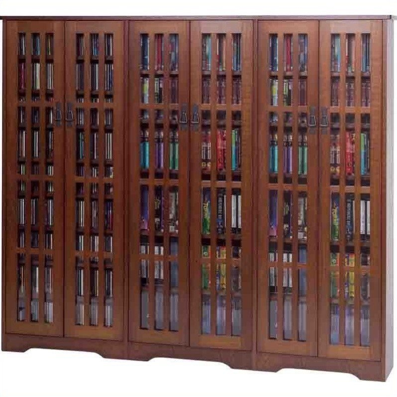 """Leslie Dame 62"""" Inlaid Glass Mission Multimedia Cabinet in Walnut"""