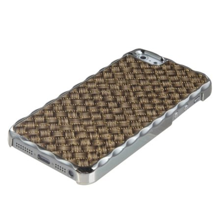 Insten Brown Silver Plating Plaid/Golden Alloy Executive Back Case For iPhone SE 5s - image 1 de 3
