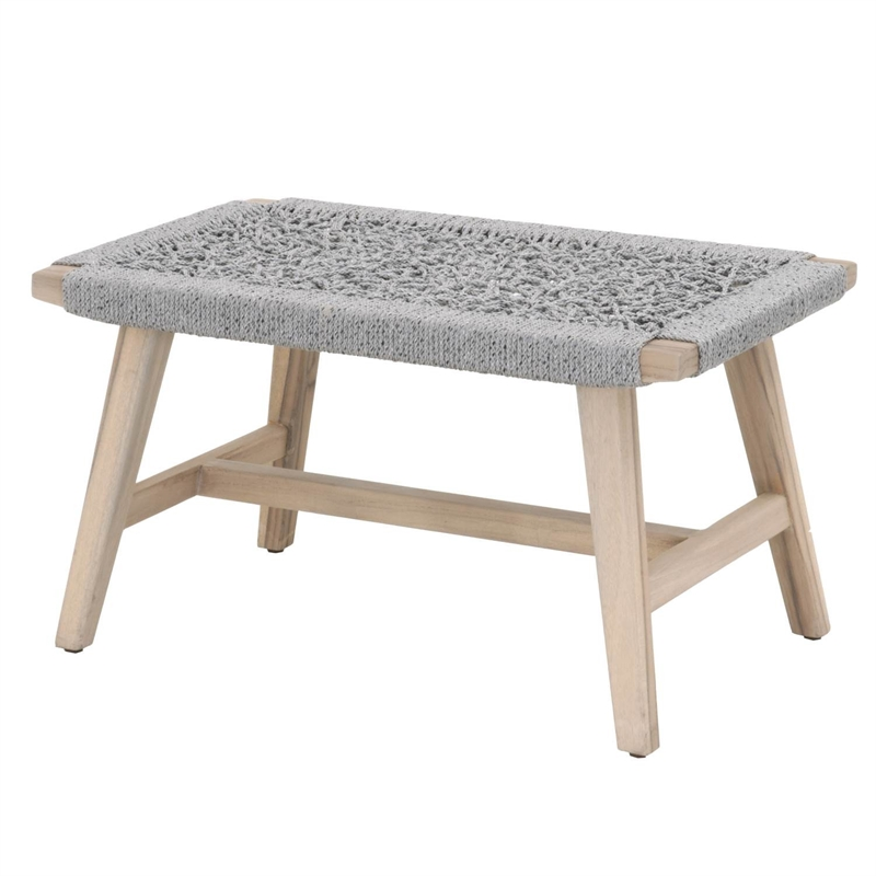 Maklaine Outdoor Accent Stool in Platinum Rope and Gray Teak