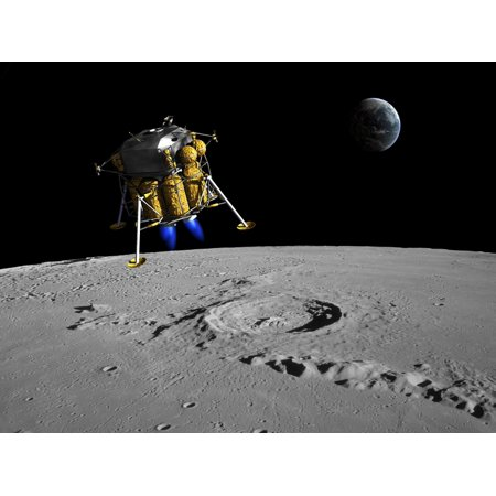 A lunar lander begins its descent to the moons surface from an altitude of 40000 feet Poster Print
