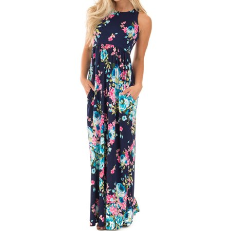 Sleeveless Floral Print Women's Long Maxi Dress Holiday Wear with Pocket