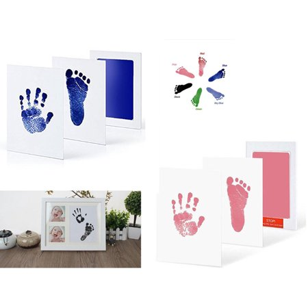 Baby Care Non-Toxic Baby Handprint Footprint Imprint Kit Infant Souvenirs Casting Clay To Newborn Footprint Ink Pad(Pink+Blue)