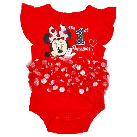 Infant Baby Girls Minnie Mouse My First Birthday Tutu Bodysuit One-Piece Red